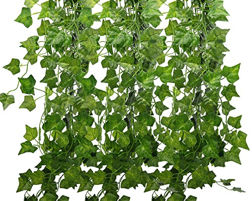 84 Ft Fake Ivy Silk Vines Hanging Plants Artificial Flowers Garland Greenery for Wedding Party Decorations DIY Floor Garden Office / Pack of 12