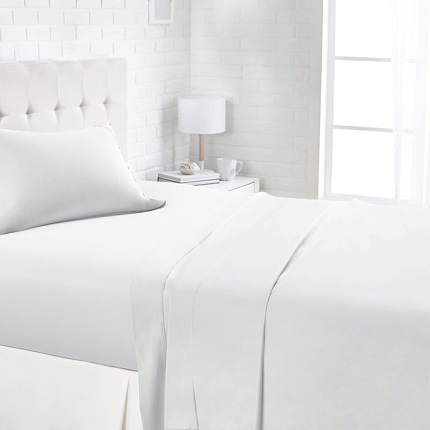 AmazonBasics 1100TC Luxury Easycare Sheet Set - Full, White