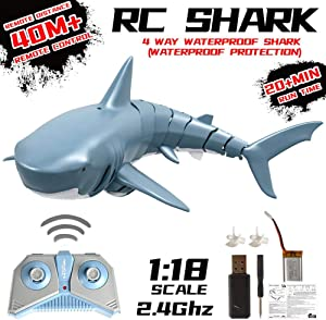[2020 Upgraded]Velocity RC Boat,Newest Simulation Remote Control Shark Boat for Swimming Pools and Lakes,Fast 2.4G 4ChannelRC Boats,Great Toy Gift for Adults Kids,Blue