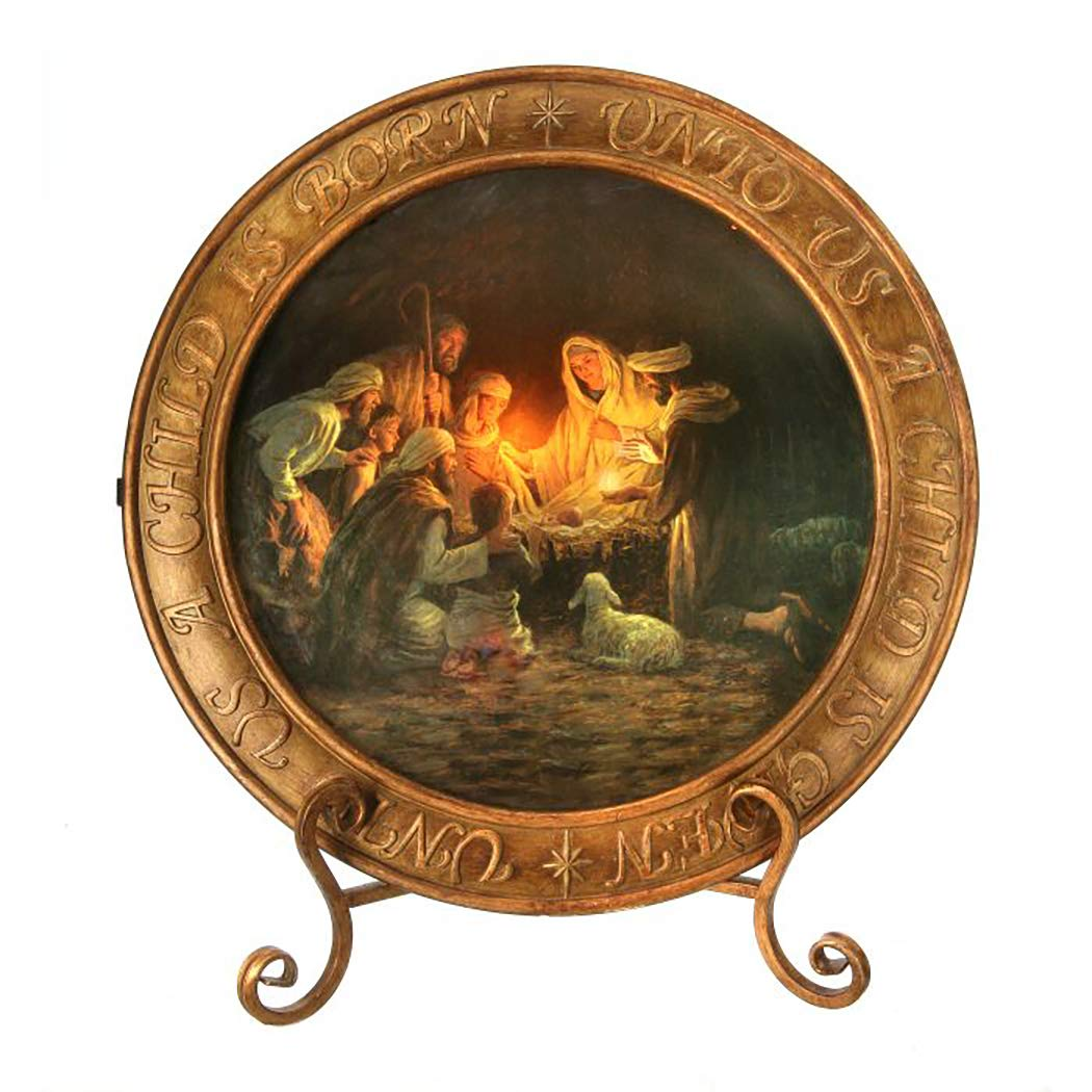 Nativity Light Up Plate With Easel