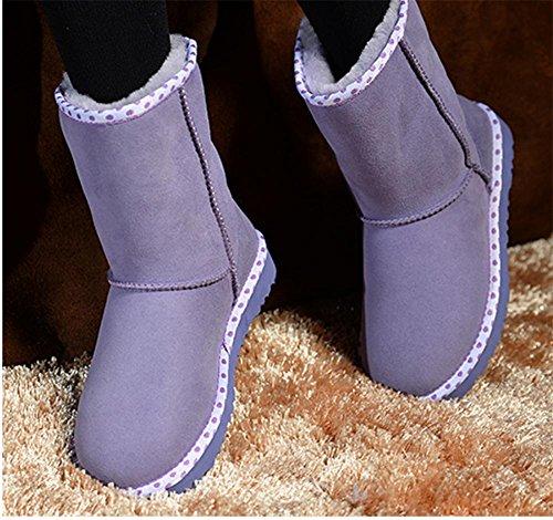 SONGYUNYAN Damen Lamm Fell Leder halten Warm verschleißfeste Zylinder im klassischen kurzen Schaffell Stiefel 4