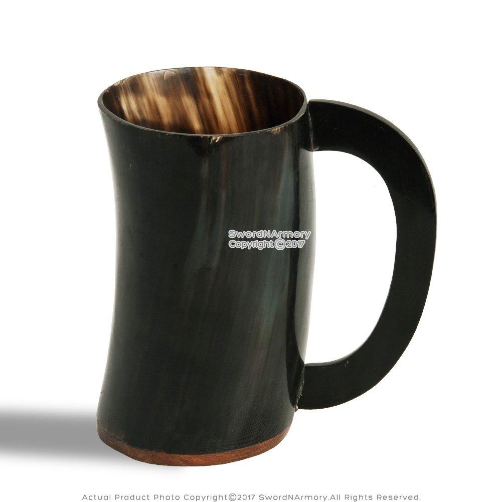 ハンドメイドViking Beer Mug中世Drinking Cow Horn Bos Taurus for LARP – ダーク B0793CP6JG