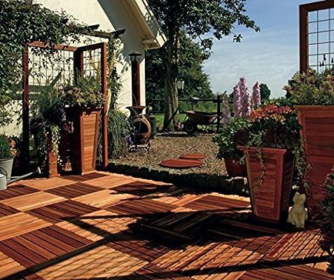 Bangkirai Madera fiese 50 x 50 cm Baldosas de terraza jardín Balcón baldosas de madera dura (B): Amazon.es: Jardín