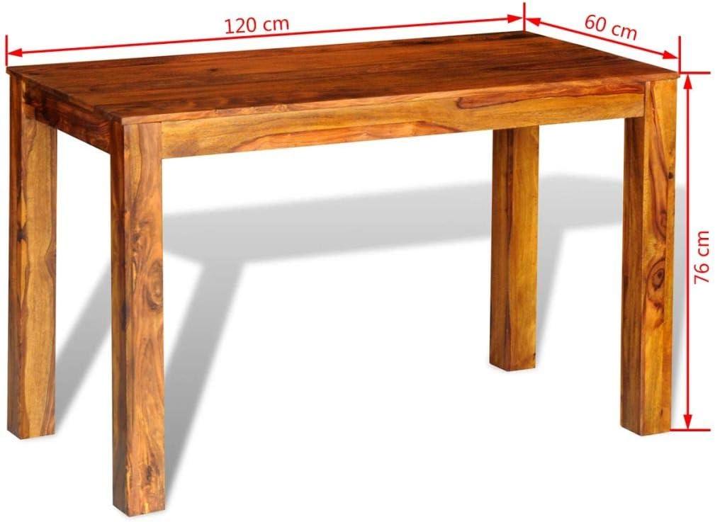 Vidaxl Tavolo Da Pranzo In Legno Massello Di Sheesham 120x60x76 Cm Sala Cucina Amazon It Casa E Cucina