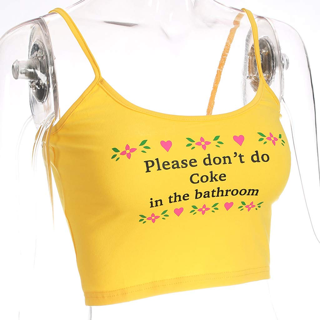 Yihaojia Please Dont do Coke in The Bathroom Womens Vest Halter Letter Print Tank Wild Slim Comfy Casual T-Shirt