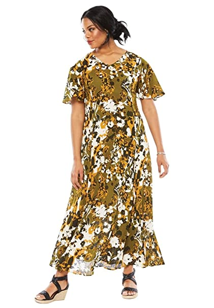 6dfe32f8fa9 Roamans Women s Plus Size Crinkle Short Sleeve Maxi Dress - Green Floral  Print