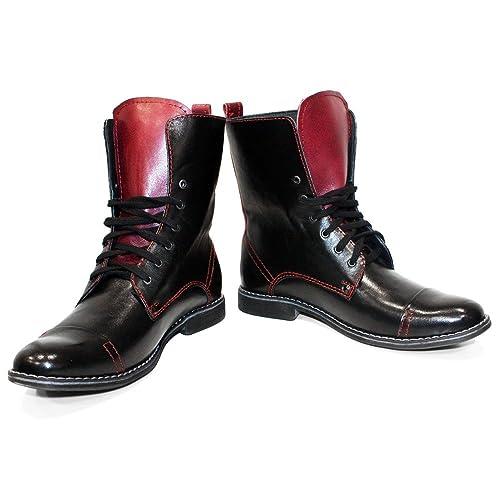 Modello Rido - Cuero Italiano Hecho A Mano Hombre Piel Marrón Botas Altas - Cuero Cuero Suave - Encaje: Amazon.es: Zapatos y complementos