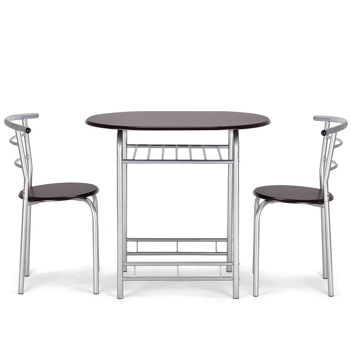 Marrone Tavolo e Sedie da Pranzo Set Mobili per 2 Persone di Legno e Ferro Goplus Set Mobili Tavolo con 2 Sedie con Design Semplice