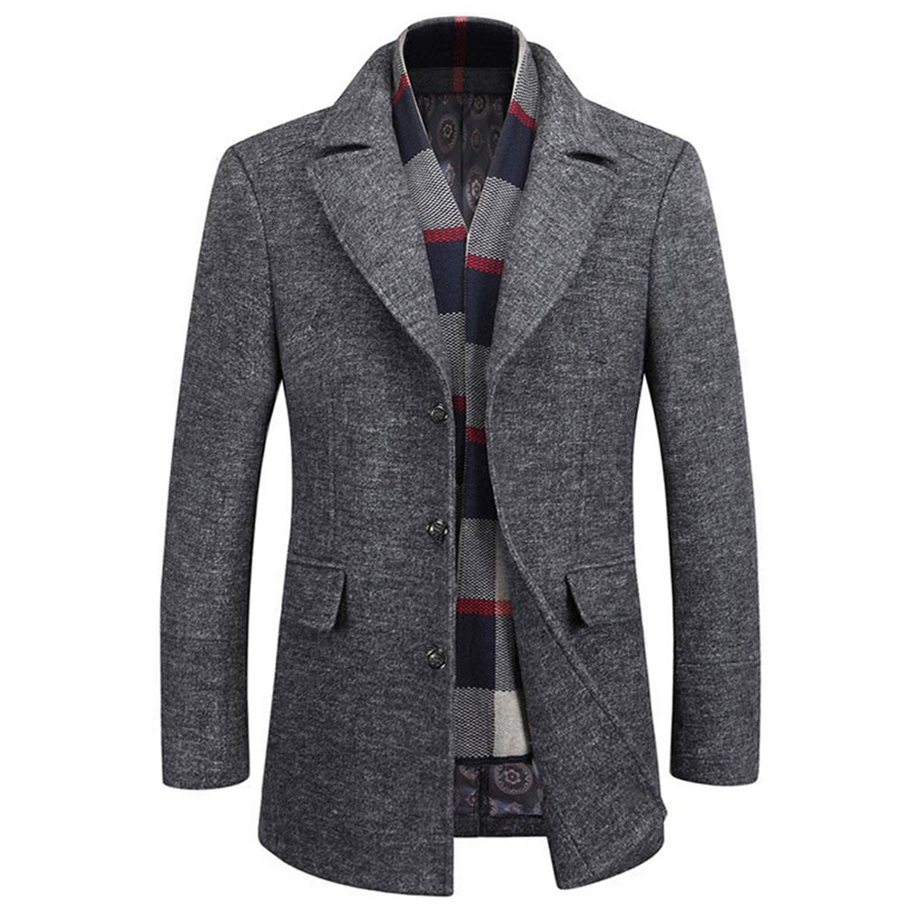 WULFUL Men's Wool Trench Coat Winter Slim Fit Pea Coat with Free Removable Plaid Scarf by WULFUL