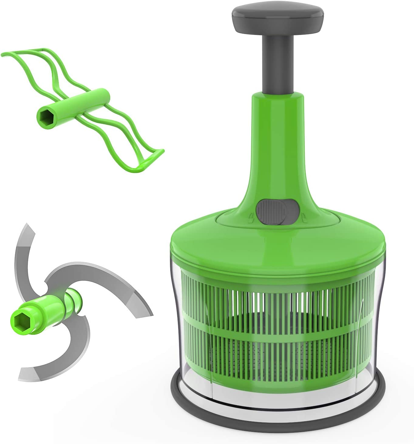 Mohist Hand-Press Food Chopper/Vegetable Cutter,Mini Mincer & Egg Mixer & Salad Spinner (3 in 1) Set,6-Cup,Green/Grey