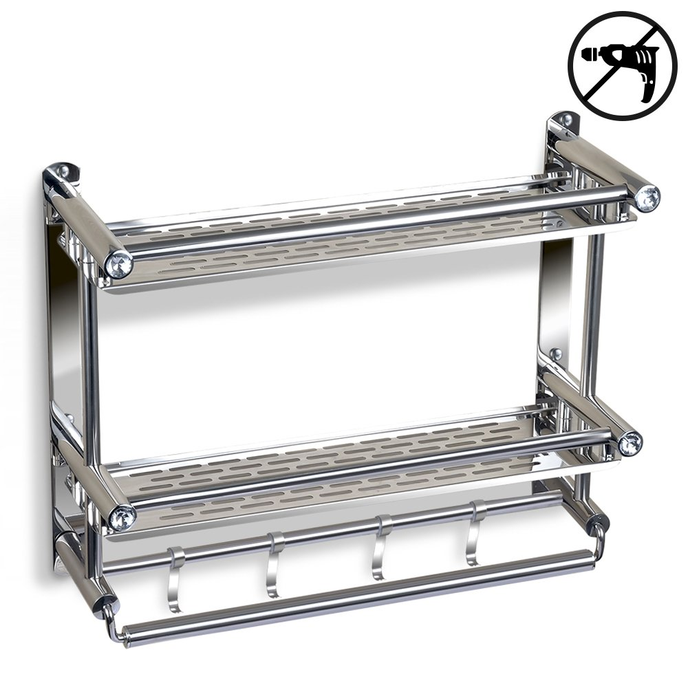 Bathroom Shelf with Towel Bar, No Drilling Stainless Steel Wall ...