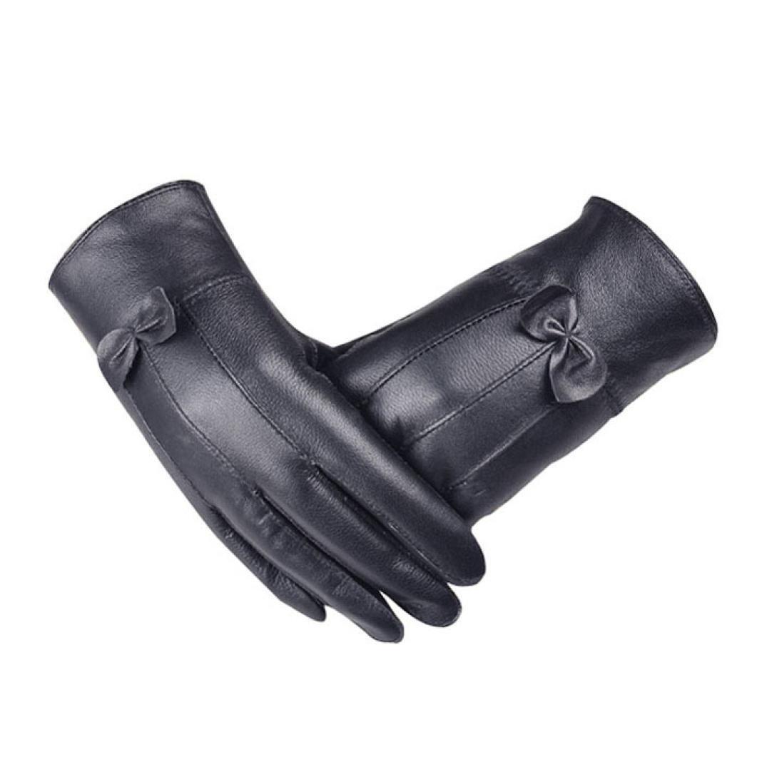 Koly Women Girls Bow Winter Super Warm Luxury Faux Leather Gloves Cashmere
