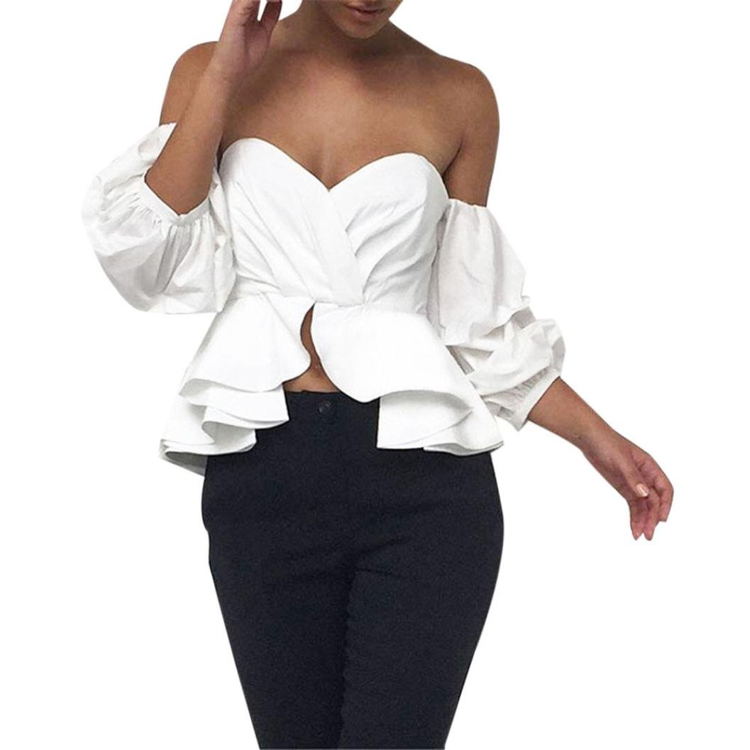 56ac2fc9b70 Kangma Women Sexy Summer Short Sleeve Off Shoulder Crop Casual Shirts Tops  Blouse White at Amazon Women s Clothing store