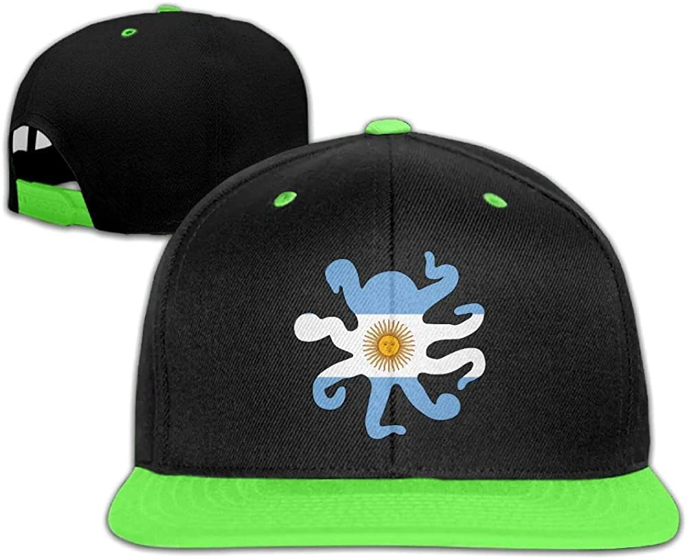 HERSTER Kids Girls Argentina Flag Octopus Shaped Baseball Cap Hats Trucker Flat Brim Caps