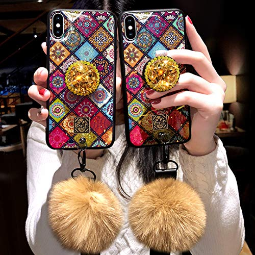 Tianyuanxuan iPhone Xs Case,iPhone X Case,Fashion Blu-ray Leopard Diamond Holder Cover with Rabbit Fur Hairball Phone Case for iPhone Xs/X 5.8-inch