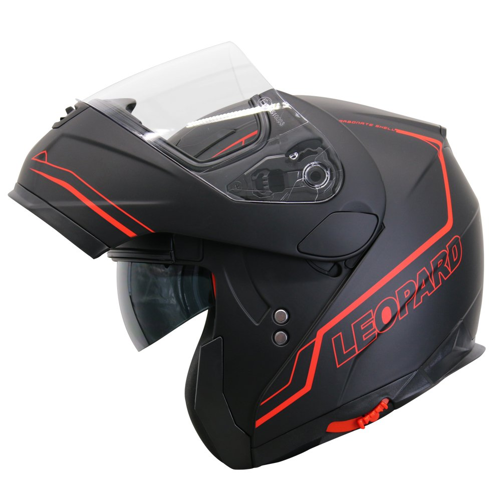 Leopard LEO-838 Casco Apribili e modulari Moto Motocicletta con Doppio Visiera - #01 Nero Opaco M (57-58cm) - ECE 22-05 Approvato Touch Global Ltd