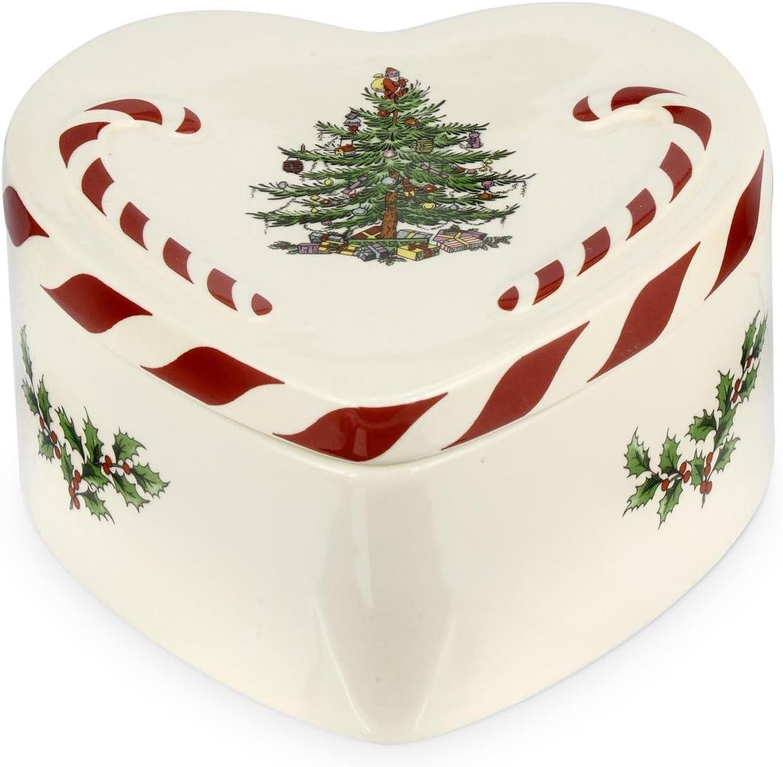 Spode hierbabuena Caja corazón con Tapa, cerámica