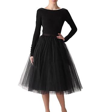 ba081babbd Sarahbridal Women/'s A Line Short Knee Length Tutu Tulle Prom Party  SkirtBlack-