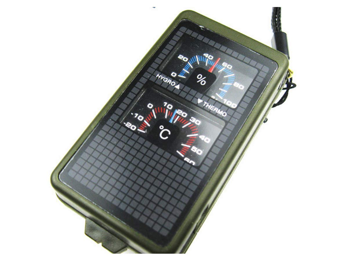 DownBeat 10 in1 Army Survival Multi Tool Compass Flint Thermometer Hygrometer Hunt Camp