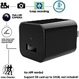 Mini Hidden Spy Camera Charger - Bysameyee USB Caricatore da parete Adattatore AC Fotocamera con Motion Detection Loop Video Record per Home Security Sorveglianza di sicurezza, 1080P HD Nanny Cam