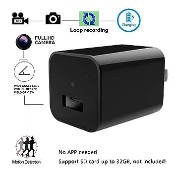 Mini Cargador de cámara espía oculto - Bysameyee 1080P Cargador de pared USB Cámara de adaptador