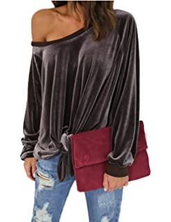 8c0311ce612d4 ABD Women s Solid Velvet Shirt Off Shoulder Front Tie Bandage Long Sleeve  Knotted Tops Blouse