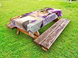 Lunarable Spa Outdoor Tablecloth, Lavender Themed Relaxing Joyful Spa Day with Aromatherapy Oils Candles Relaxation, Decorative Washable Picnic Table Cloth, 58 X 120 inches, Purple and White
