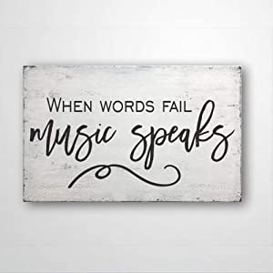 DONL9BAUER When Words Fail Music Speaks, Wood Sign Housewarming Present, Farmhouse Decor Rustic Home Decor Wall Hanging Indoor Outdoor