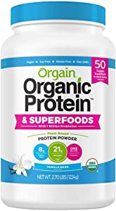 Orgain USDA Organic Plant Protein and Superfoods Powder, 2.70-pounds