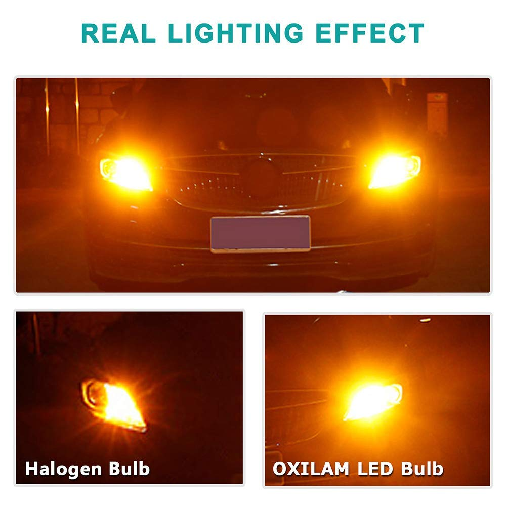 OXILAM 7440 LED Bulbs Amber Yellow 2800LM for Turn Signal Lights with Build-in Load Resistor CANBUS Error Free T20 7440NA 7441 7444 W21W WY21W Blinker Bulb Replacement 2PCS