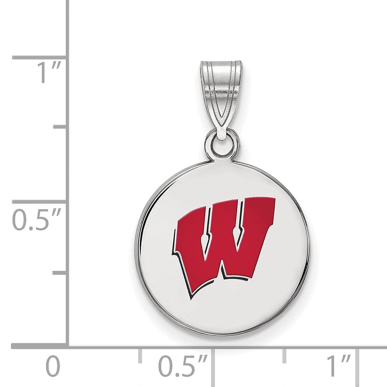 925 Sterling Silver Rhodium-plated Laser-cut University of Wisconsin Medium Enameled Disc Pendant