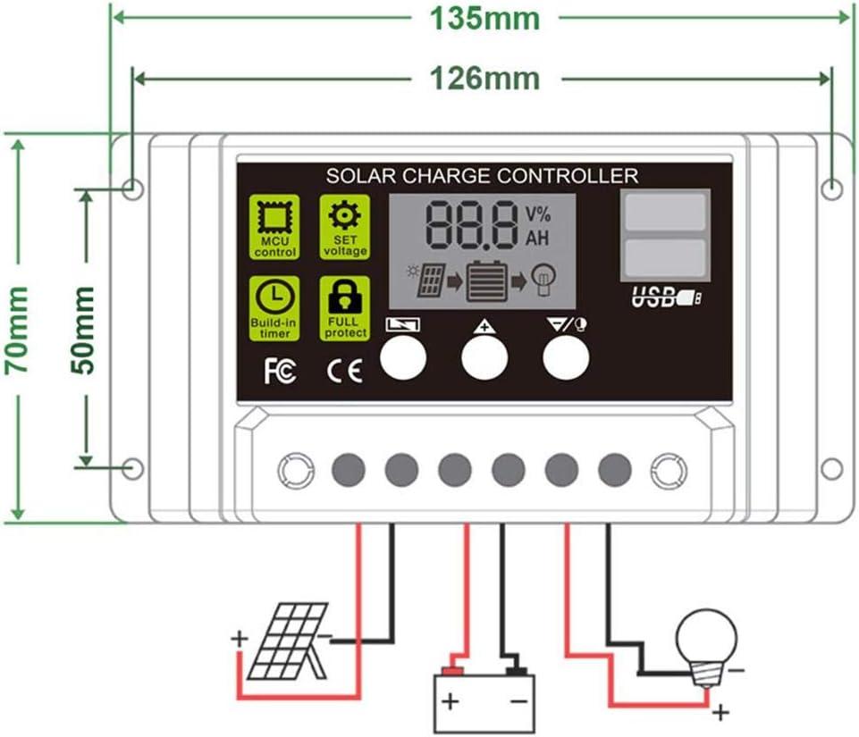 chlius Contr/ôleur de Charge Solaire 10A R/égulateur de Panneau Solaire Automatique 12V 24V avec Double USB Et PWM /Écran LCD Emp/êche Surcharge et D/écharge de Batterie