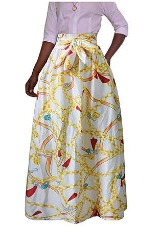 ddfcd4d5e46 Tootless-Women with Zipper Plus Size African Print Dashiki Waist Belt  Pleated Maxi Skirt AS1