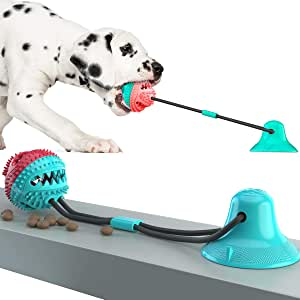 Teeth Cleaning,Pulling,Playing RUCKO Dog Toy Suction Cup Pet Molar Bite Toy Dog Rubber Rope Ball Tug Toys for Chewing