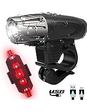 Luz de Bicicleta LEDs Luces Lámparas delantera para Bicicletas de montaña con Trasera iluminacion - Alta Lumens Super Brillante IP65 Impermeable con USB Batería Recargable Para Bici y Timbre Bicicleta
