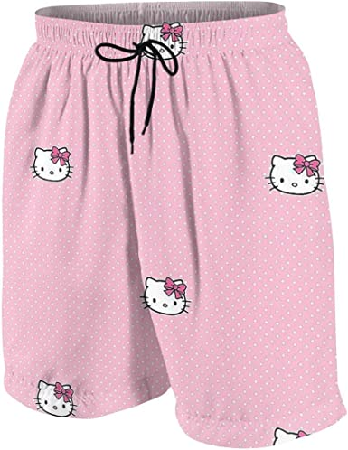 Swim Trunks Hello Kitty Quick Dry Beach Board Shorts Bathing Suit with Side Pockets for Teen Boys