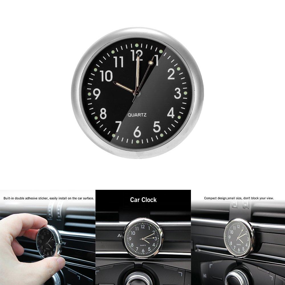 Car Clock Car Dashboard Small Round Analog Quartz Clock Stick-On Clock Car Ornaments Accessories Black