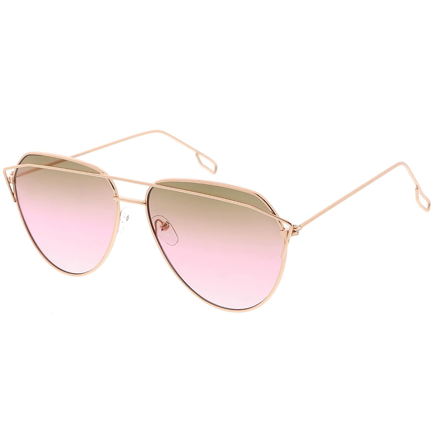 4b9c4e4699 Amazon.com  sunglassLA - Modern Aviator Sunglasses Metal Crossbar Slim Arms  Color Gradient Flat Lens 58mm (Rose Gold Smoke Pink)  Clothing