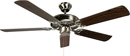 Hyperikon 42 Inch Ceiling Fan No Light, 55W, Remote Control and Pull Chain, Brushed Nickel Body, 5 Blades, Walnut