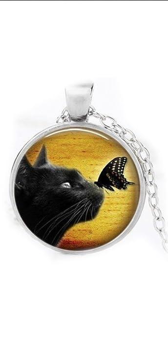 Collar de gato, collar de gato negro, joyería de gato, colgante de gato, collar de gato de plata, regalo de amante de los gatos: Amazon.es: Joyería