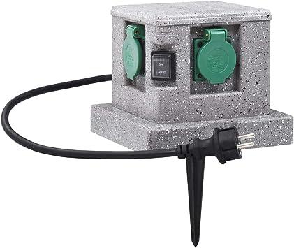vidaXL Enchufe de Jardín con Sensor de Ocaso Plástico Piqueta de Electricidad Suministros Eléctricos Sensor Ocaso para Apagado y Encendido Automático: Amazon.es: Bricolaje y herramientas