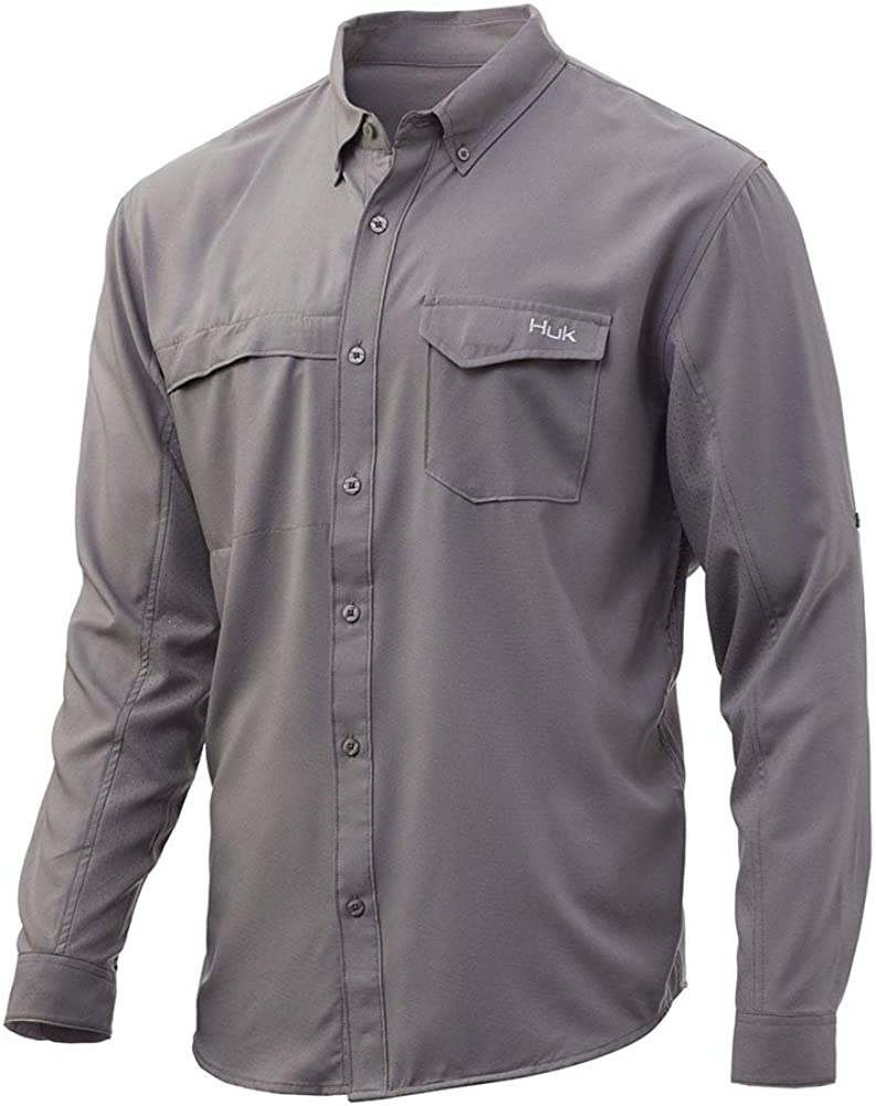 HUK mens Tide Point Woven Solid Long Sleeve Shirt