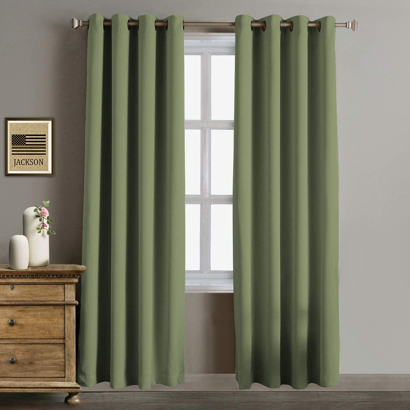 Rose Home Fashion Blackout Curtains Thermal Insulated Room Darknening Draperies 96 Inch Blackout Window Curtain Panels, 2 Pieces Blackout Curtains for Bedroom Living Room, W52 x L96, Olive