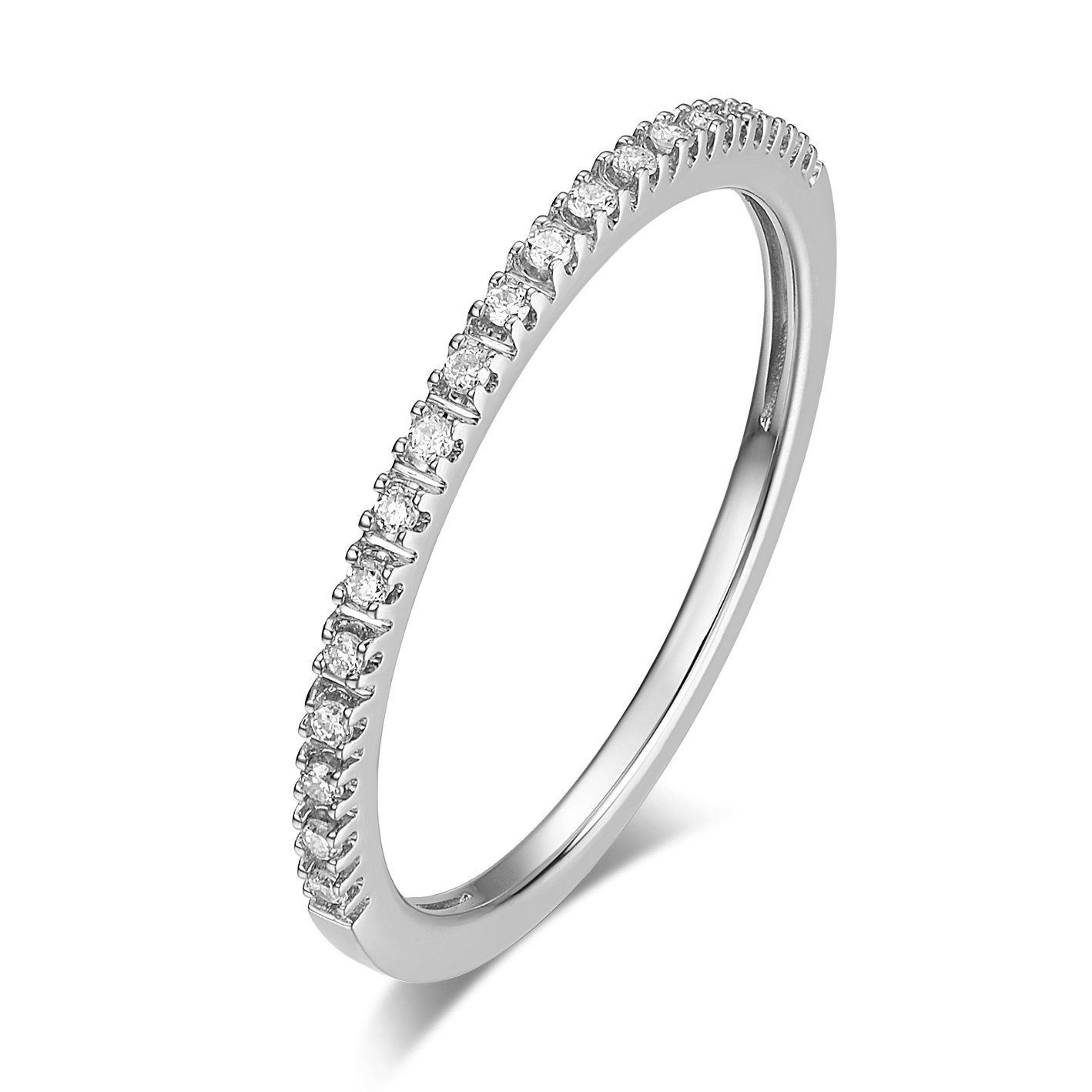 14K Gold Riviera Petite Micropave Diamond Half Eternity Wedding Band Ring for Women, 1.5mm (White-Gold, 5)