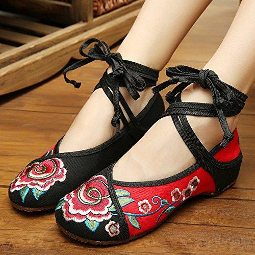 Icegrey Zapatos De Tiras Bordado Floral Del Tobillo Planos De Las Mujeres Negro