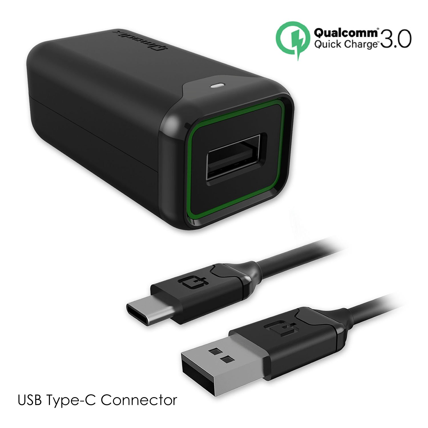 Qualcomm Quick Charge 3.0 - Charge Your Device Up To 38% More Effeciently - Samsung Adaptive Fast Charger (USB Type-C Travel Charger)