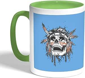 كوب سيراميك للقهوة بتصميم جمجمة هندي احمر ، لون اخضر