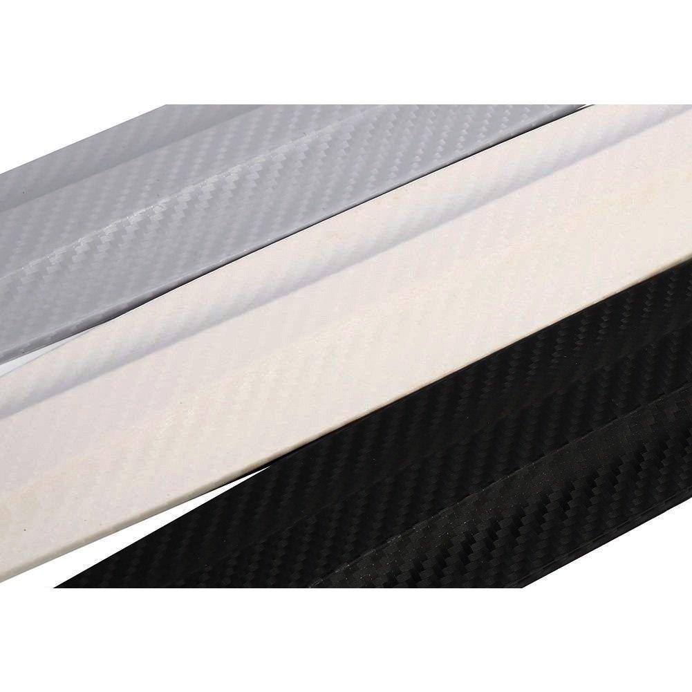 1 Par Fibra ABS De Carbono De Coches Delantero Y Trasero De Parachoques Protector De Parachoques Etiqueta Color : Blanco