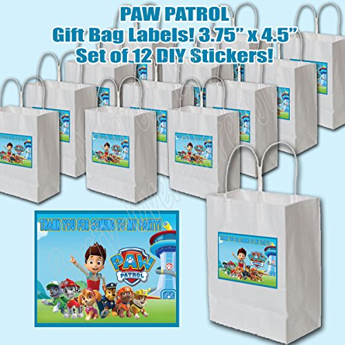 Paw Patrol Stickers Party Favors Supplies Decorations Gift Bag Label STICKERS ONLY 3.75