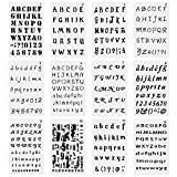 #3: 12 Pack Plastic Letter and Number Stencils Alphabet Stencil Drawing Painting Stencil Letter Template Sets for Bullet Journal Supplies Diary Notebook Painting Craft, Scrapbook DIY